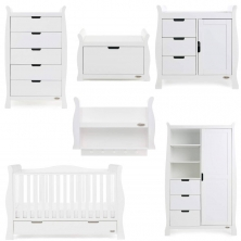 Obaby Stamford Luxe Sleigh 7 Piece Funiture Room Set-White