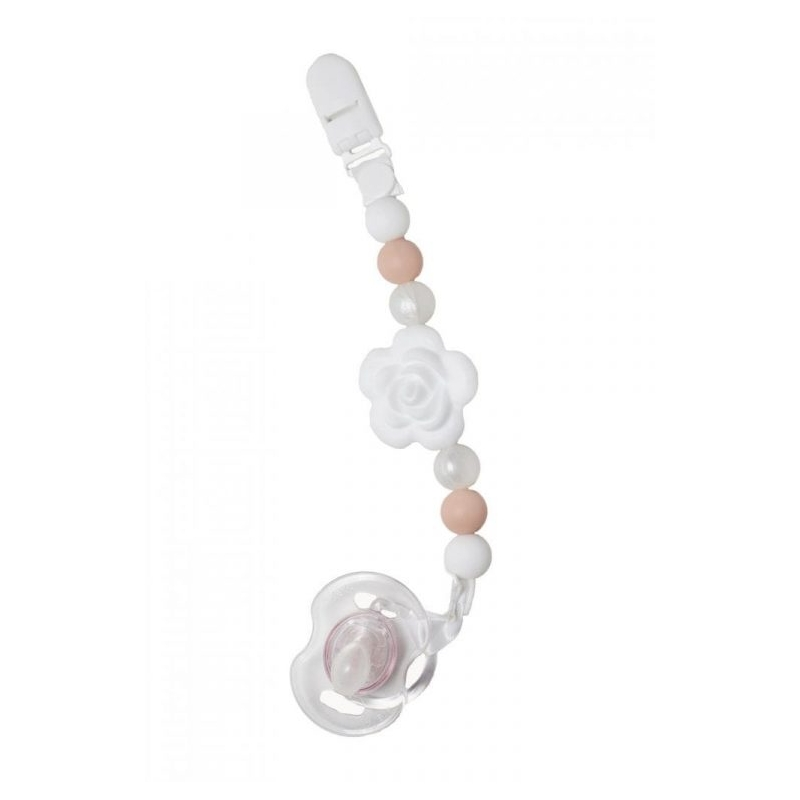 Nibbling Dummy Clip in White-Flora