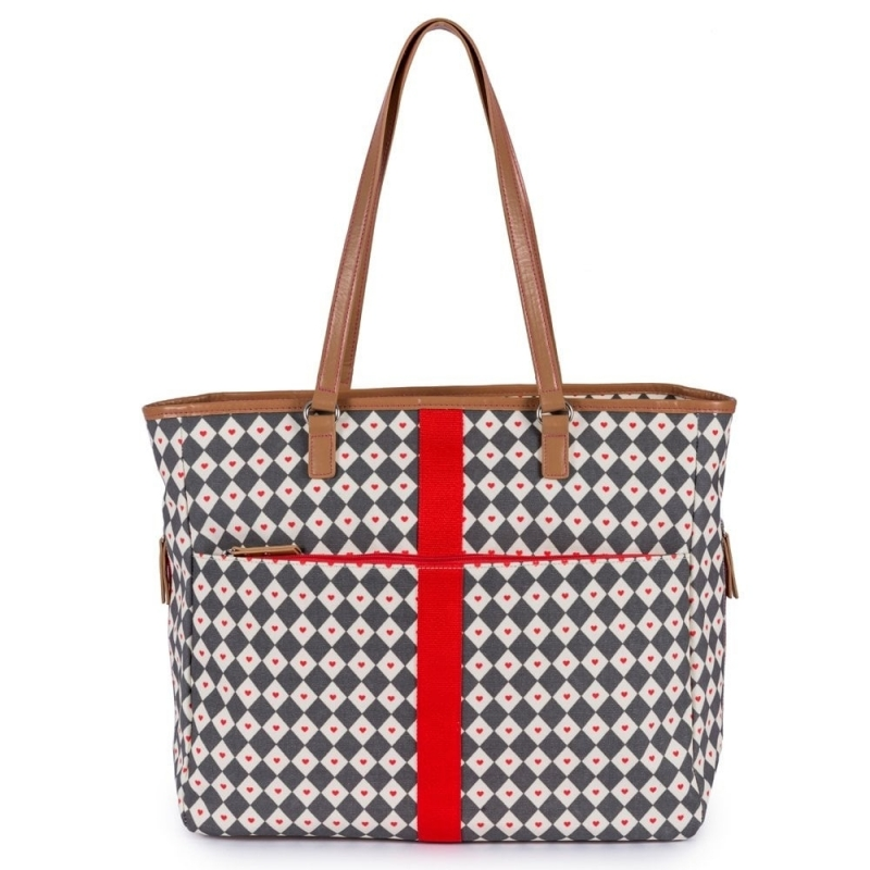 Pink Lining Henrietta Changing Bag-Diamonds and Hearts Tote