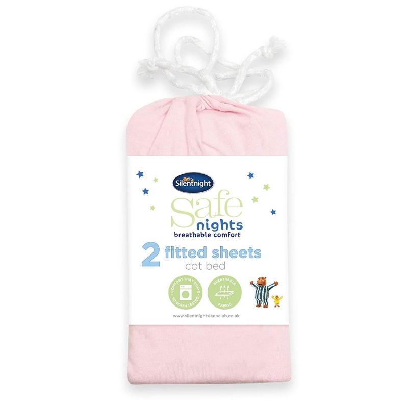 Silent Night Cot Bed Fitted Sheets (Pack of 2)-Pink