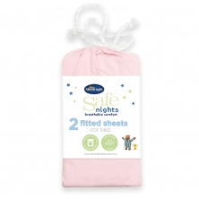 Safe Night by Silentnight Cot Bed Fitted Sheets (Pack of 2)-Pink