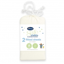 Safe Night by Silentnight Cot Bed Fitted Sheets (Pack of 2)-Cream