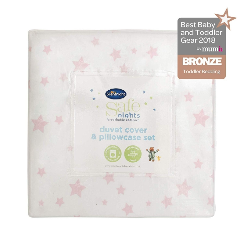 Silent Night Cot Bed Duvet Cover & Pillow Case-Pink Star