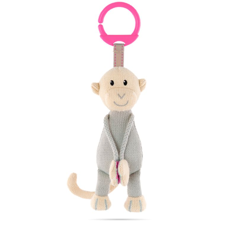Matchstick Monkey Knitted Hanging Toy Pink