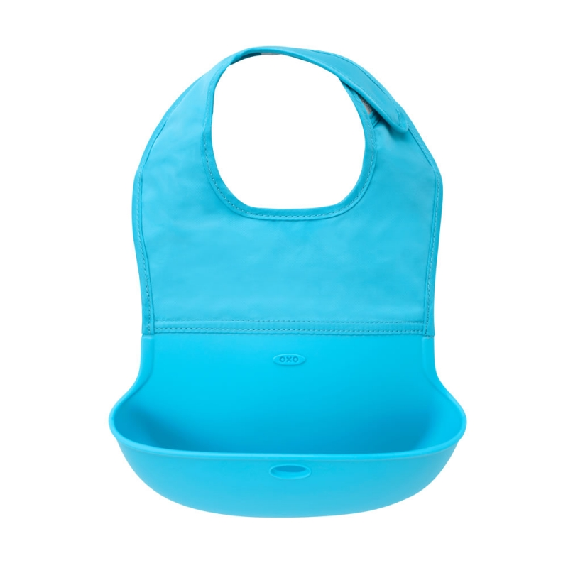 Oxo Tot Roll Up Bib-Aqua