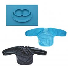 Ezpz Happy Mat + Small 2pck Long Sleeve Towel Bib-Blue