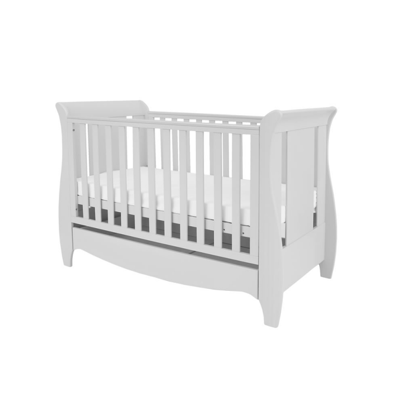 Tutui Bambini Roma Mini Sleight Cot bed With Under Bed Drawer-Dove Grey