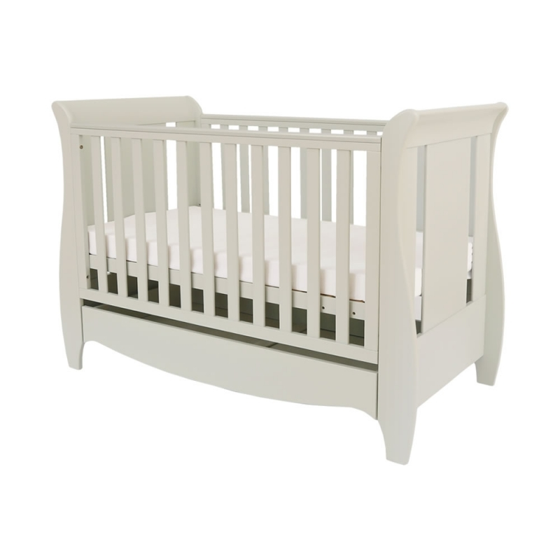 Tutui Bambini Roma Mini Sleight Cot bed With Under Bed Drawer-Linen