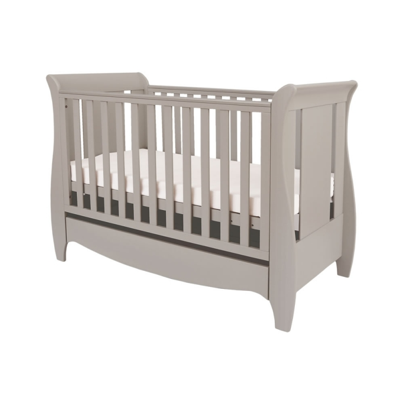 Tutui Bambini Roma Mini Sleight Cot bed With Under Bed Drawer-Truffle Grey
