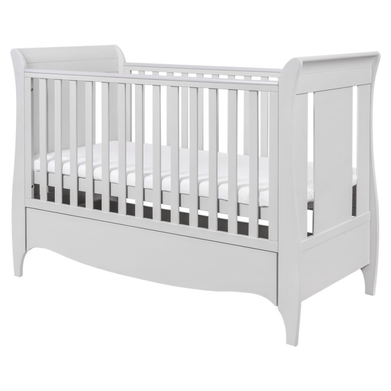 Tutti Bambini Roma Sleigh Cot Bed With Under Bed Draw-Dove Grey