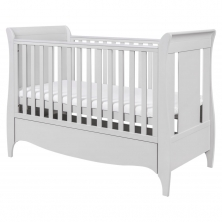 Tutti Bambini Roma Sleigh Cot Bed With Under Bed Drawer-Dove Grey + FREE Fibre Cotbed Mattress!
