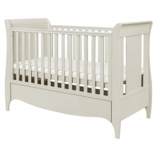 Tutti Bambini Roma Sleigh Cot Bed With Under Bed Drawer-Linen + FREE Fibre Cotbed Mattress!