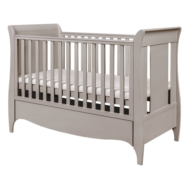 Tutti Bambini Roma Sleigh Cot Bed With Under Bed Draw-Truffle Grey