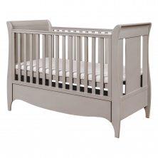 Tutti Bambini Roma Sleigh Cot Bed With Under Bed Drawer-Truffle Grey + FREE Fibre Cotbed Mattress!