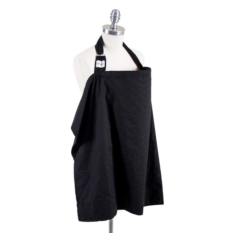 Bebe Au Lait Premium Cotton Nursing Cover-Eyelet Black