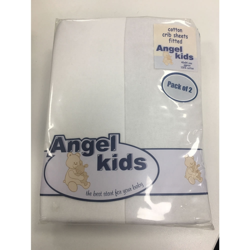 Angel Kids Crib Cotton Fitted Sheets(2 Pack)-White