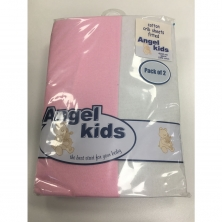 Angel Kids Crib Cotton Fitted Sheets(2 Pack)-Pink/White