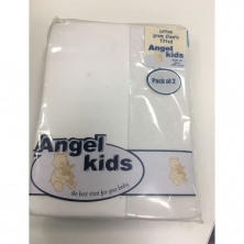 Angel Kids Pram Cotton Fitted Sheets(2 Pack)-White