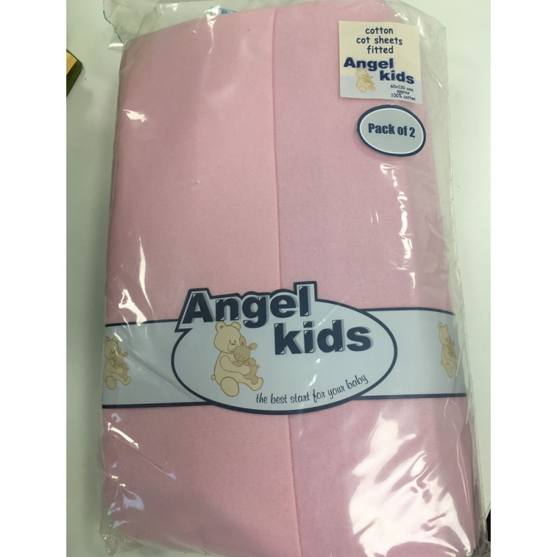 Angel Kids Cot Cotton Fitted Sheets(2 Pack)-Pink