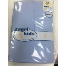 Angel Kids Cot Cotton Fitted Sheets(2 Pack)-Blue