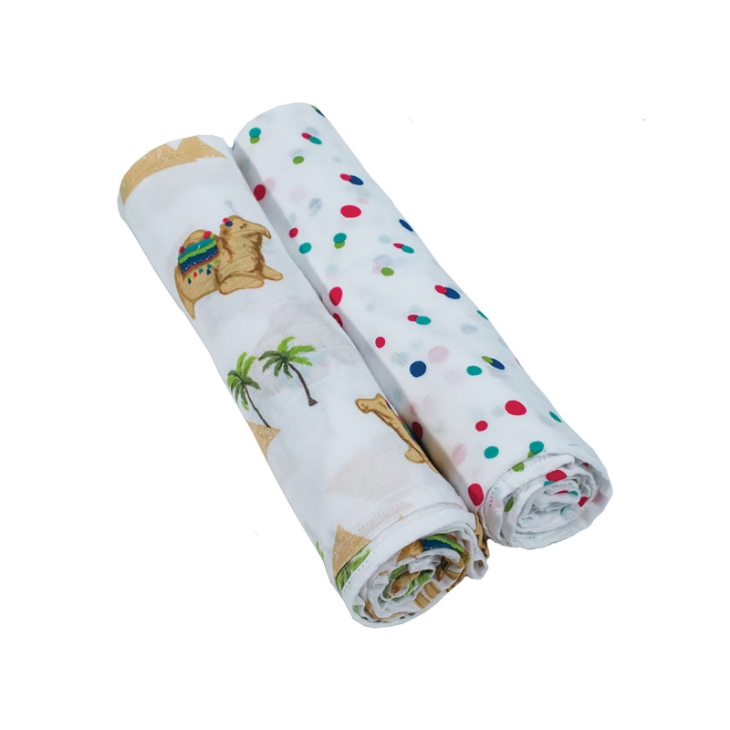Bebe Au Lait Classic Muslin Swaddle Blanket Set-Oasis + Pom Pom