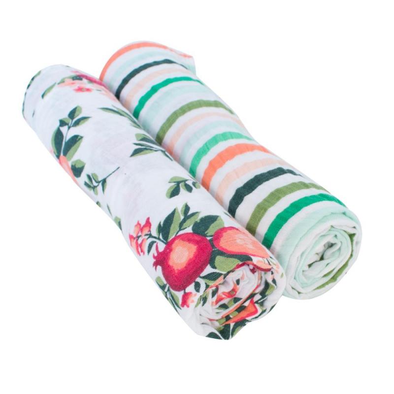 Bebe Au Lait Classic Muslin Swaddle Blanket Set-Ojai + Ribbon