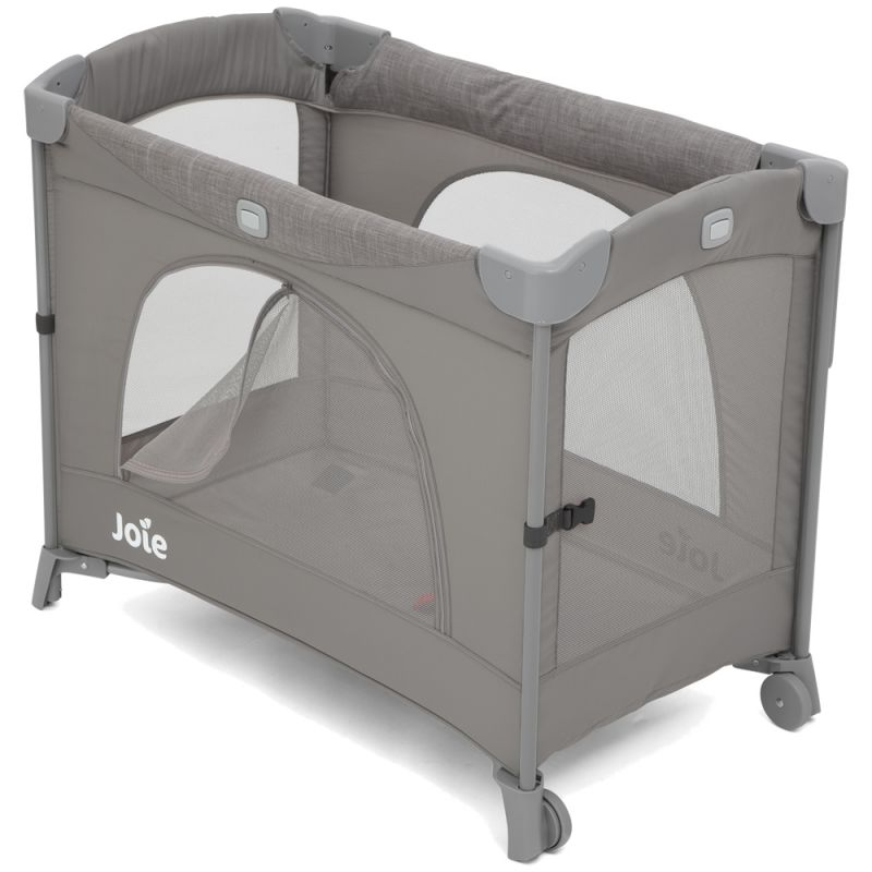 Joie Kubbie Sleep Compact Travel Cot Dropside-Foggy Grey