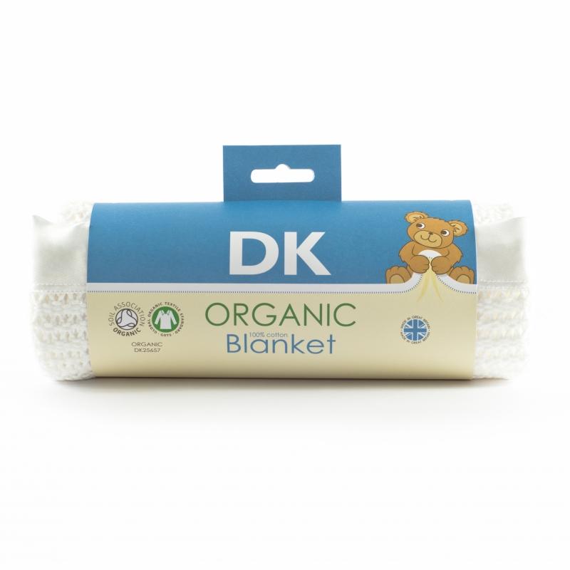 DK Glovesheets 100% Organic Kint Cotton Baby Blanket 100x75cm-White
