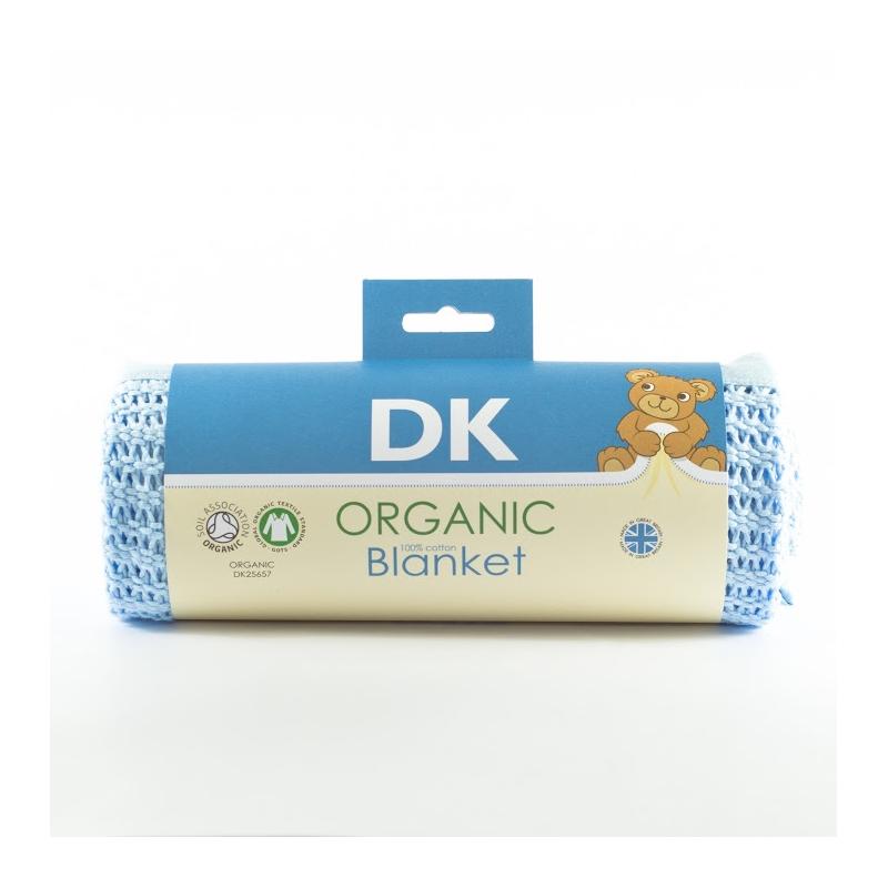 DK Glovesheets 100% Organic Kint Cotton Baby Blanket 100x75cm-Blue