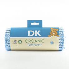 DK Glove Organic Fitted Cotton Blanket for Pram/Crib 75x100cm-Blue