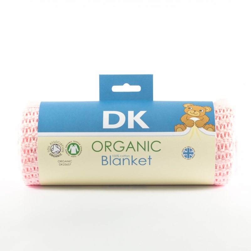 DK Glovesheets 100% Organic Kint Cotton Baby Blanket 100x75cm-Pink