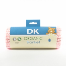 DK Glove Organic Fitted Cotton Blanket for Pram/Crib 75x100cm-Pink