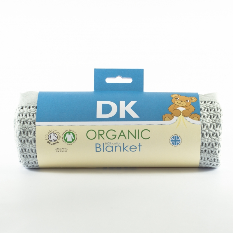 DK Glovesheets 100% Organic Kint Cotton Baby Blanket 100x75cm-Grey