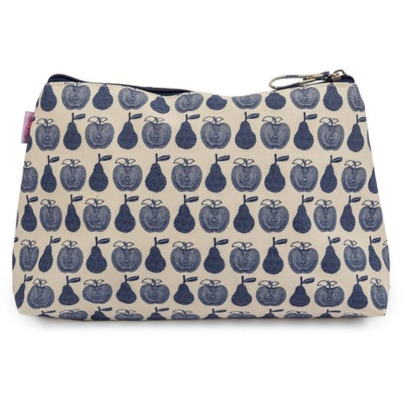 Pink Lining Wash Bag-Apples and Pears Blue