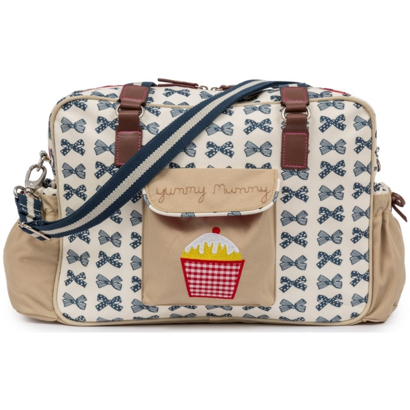 Pink Lining Heritage Yummy Mummy Changing Bag-Navy Bows