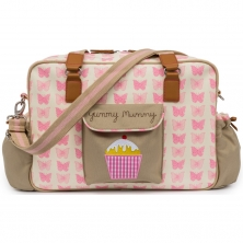 Pink Lining Heritage Yummy Mummy Changing Bag-Pink Butterflies