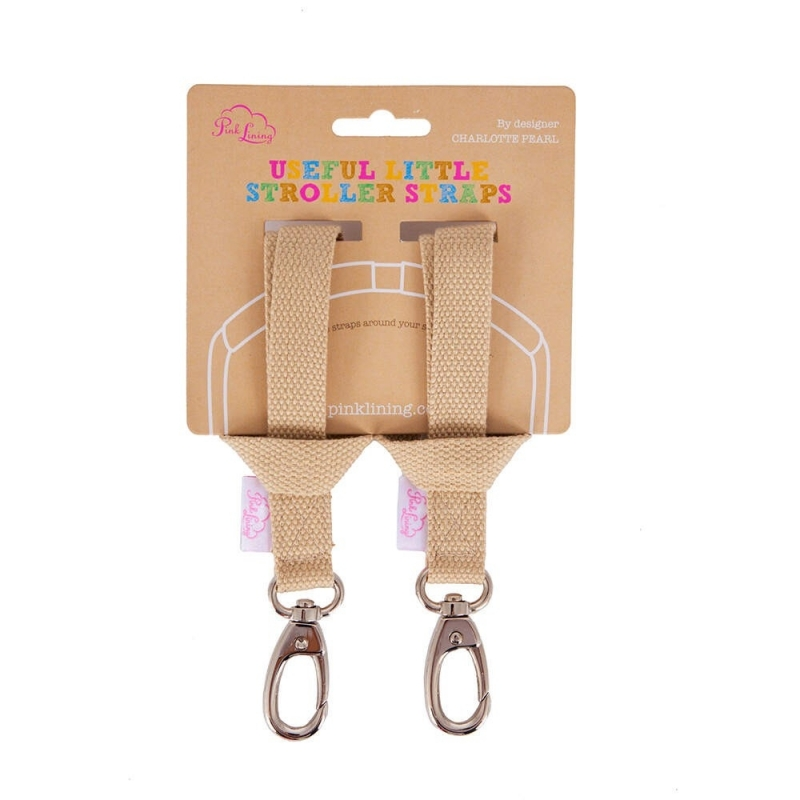 Pink Lining Stroller Strap-Oatmeal