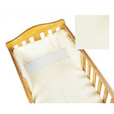 Kiddies Kingdom Broderie Anglaise Deluxe Cotbed Quilt & Bumper Set-Cream