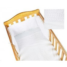 Kiddies Kingdom Broderie Anglaise Deluxe Cotbed Quilt & Bumper Set-White