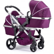 iCandy Peach Chrome Blossom Twin Pushchair-Damson (New)