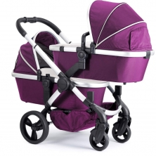 iCandy Peach Satin Blossom Twin Pushchair-Damson (New)