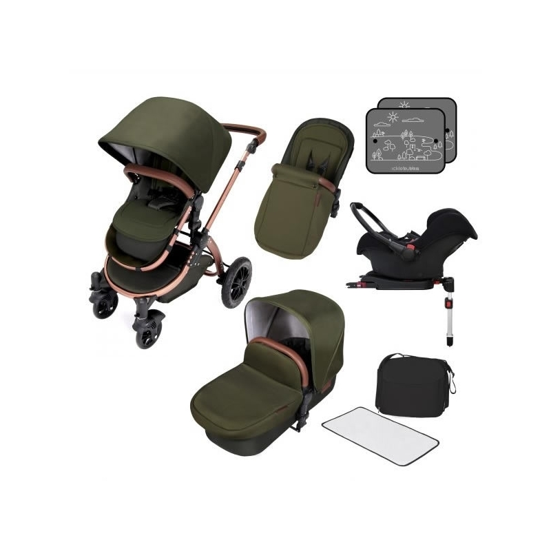 Ickle Bubba Stomp V4 Special Edition All-In-One Travel System With Isofix Base-Woodland Bronze