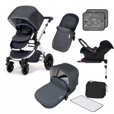 Ickle Bubba Stomp V4 Chrome Frame Travel System With Galaxy Carseat & Isofix Base-Blueberry Chrome