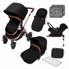 Ickle Bubba Stomp V4 Bronze Frame Travel System With Galaxy Carseat & Isofix Base-Midnight Bronze