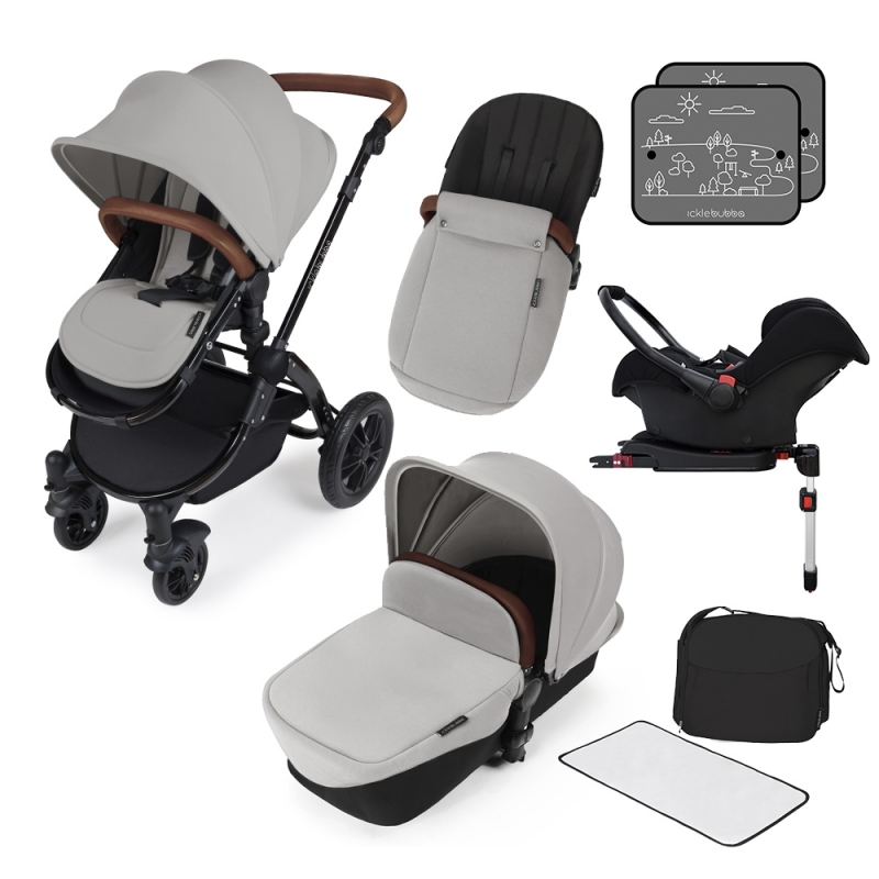 Ickle Bubba Stomp V3 Black Frame All-in-one Travel System With Isofix Base-Silver