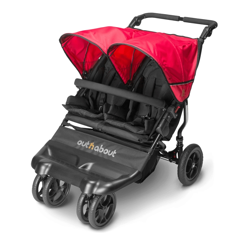 Out n About Little Nipper Double Stroller-Poppy Red