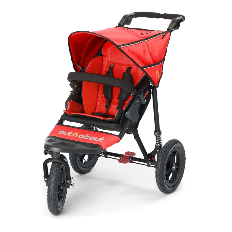 Out n About Nipper Single 360 V4 Stroller-Carnival Red + FREE Clip On Toy Worth £20!