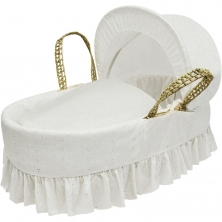 Kinder Valley Palm Broderie Anglais Moses Basket-Cream