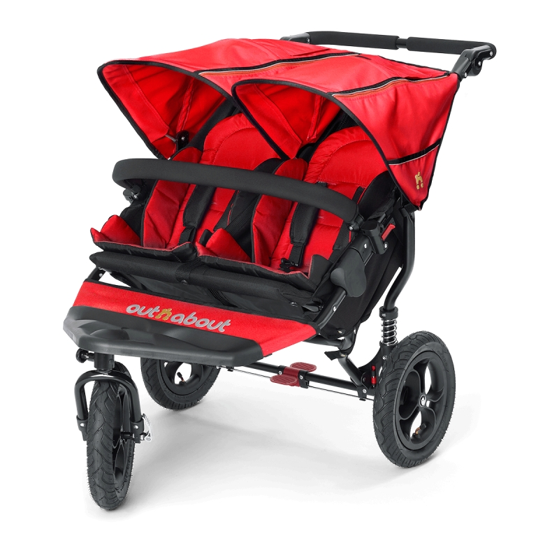 Out n About Nipper Double 360 V4 Stroller-Carnival Red + FREE Clip On Toy Worth £20!