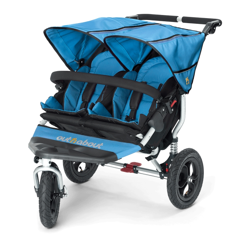 Out n About Nipper Double 360 V4 Stroller-Lagoon Blue + FREE Clip On Toy Worth £20!